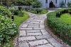 the stone path in the garden